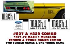 827 & 829 1971-72 MUSTANG - MACH 1 TRUNK & FENDER NAMES - 3 DECALS - LICENSED