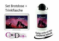 Brotdose Trinkflasche Pausenbox Lunchbox mit Namen Geschenk Schule Kiga Pferd