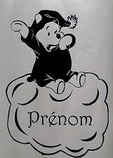 Sticker winnie l'ourson sur un nuage avec prénom personnalisé