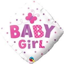 Petite Fille Papillon Nouveau Bébé Baptême Rose 45.7cm Fête Ballon Plat Qualatex