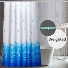 Shower Curtain Raindrops Printed Bath Curtains Waterproof Home Decor Blue