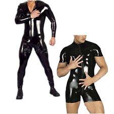 Sexy Men's Black Full Bodysuit Wet Look Jumpsuit Catsuit Clubwear Stage Costumes