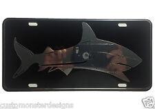 White Shark License Plate Swimming Fishing Chrome and Regular Vinyl Choice