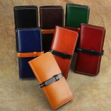 Unisex Genuine Leather Long Clutch Wallets Interior Zipper Pocket Banknote Purse