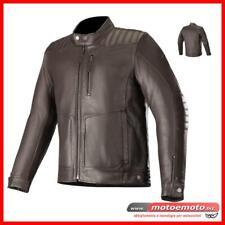 Giacca Moto Pelle Alpinestars Crazy Eight Brown Protezioni Vintage Morbida Nera
