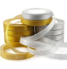 25 Yard Gold Silver GLITTER Sparkle Organza RIBBON ROLL 10mm