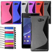 For Sony Xperia M2 Soft Grip Wave Gel Skin Case Skin Cover + Screen + Stylus Pen