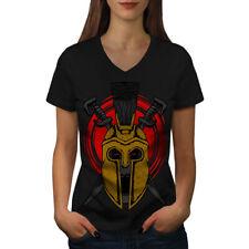 Cráneo de muerte guerra Gladiador Mujer Cuello en V wellcoda Camiseta Nuevo |