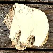 10x de madera Comic Oso Polar De Pie CRAFT formas 3mm contrachapado de animales salvajes
