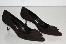 $755 NEW MANOLO BLAHNIK PUMPS Lisa BB 50 CHOCOLATE Brown Kitten Heels Shoes 41.5