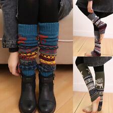 Casual Women Christmas Winter Leg Warmer Knit Knitted Crochet Long Sock Leggings