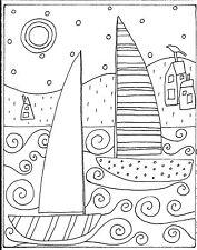 RUG HOOK CRAFT PAPER PATTERN 2 Sailboats And Houses FOLK ART PRIM Karla G