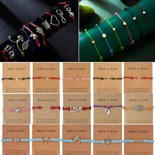 Fahsion Make a wish Animal Bracelet Rope Adjustable String Lucky Bracelet Women