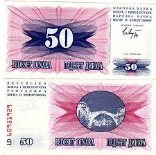 Bosnien BOSNIEN-HERZEGOWINA Geldschein 50 DINARA 1992 P12 NEU UNC