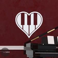 Heart Love Piano Keys Vinyl Wall Decal Sticker Music Musical Instruments