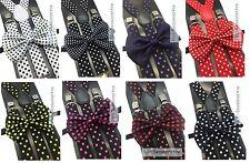 Polka Dot Men & Women Bow Tie & Suspenders Collection Novelty Wedding Accessory