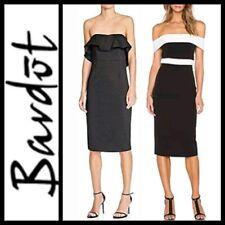 $129 Bardot Black Ruffle & B/W Strapless ColorBlock Midi Dress ~ 8, 8 /M  M3020