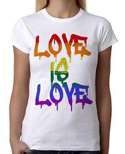 Junior's Rainbow Love Is Love White T-Shirt LGBT Trans Gay Lesbian Bi Pride B772