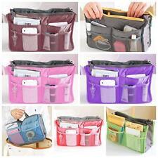 Women's Handbag Insert Organizer Purse Dual Storage Tidy Bag Multi Pockets FI