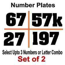 Custom Racing Number Plate Vinyl Decals - Kart MX Dirt Bike Select Color & Size
