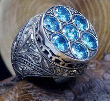 Turkish 925 Sterling Silver Original Aquamarine Gem Stone Mens Ring ALL SİZE
