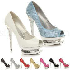 Womens ladies bling diamante high heel platform peep toe sandal court shoes size