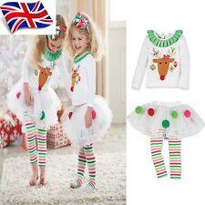 Sale UK Seller Xmas Gift White Outfit Sleepwear Reindeer Top Skirt leggings 1-5Y