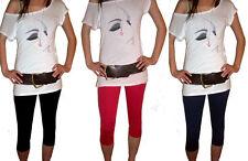 3/4 Length Cropped Womens Ladies Leggings Pants Cotton Elastane Black Navy New