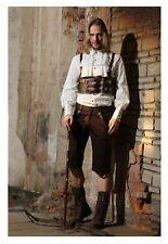 Steampunk Men's Victorian Brown Costume Shorts Pants w/ Faux Leather Straps S-2X