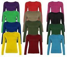 Kids Girls Long Sleeve Round Neck Plain Basic Ladies Stretch T-Shirt 4-13 Years