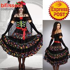 K430 Day Of The Dead Senorita Fancy Dress Halloween Skull Mexican Zombie Costume