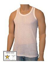 1 Mens Vests 100% Cotton Airtex Mesh Singlets Underwear / White / S M L XL XXL