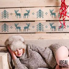 STENCIL Christmas Decor Craft Window Decor Scandinavian Reindeer & Tree Pattern