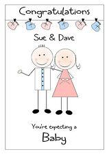 Bebé personalizada esperando una tarjeta de felicitaciones embarazo Multi abuelos
