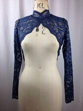 Baylis Knight Navy Blue Lace HIGH NECK Collar Long Sleeve BOLERO Cardigan Shrug