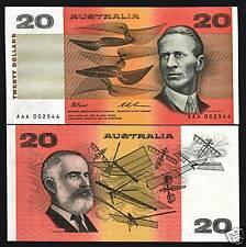 AUSTRALIA 20 DOLLARS P46I 1994 *AAA* PREFIX UNC SMITH AERONAUTICAL CURRENCY NOTE