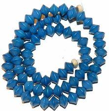"W354f Dark Blue 8mm Bicone Saucer Wood Spacer Beads 15"""
