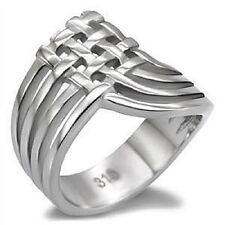 Geometric Crisscross Ring Stainless Steel Woven Open Silver Thumb