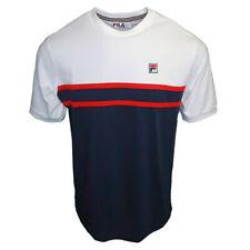 Mens Fila Navy/White Baldi Retro Slim Fit Panel Crew T-Shirt