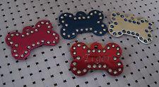 Bone with Swarovski crystal edges pet ID Tag, dogs/cats ID tags custom engraving