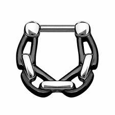Septum Piercing Clicker Ketten Style Chirurgenstahl schwarz