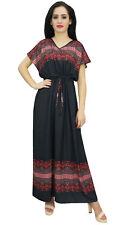 Robe noire des femmes de Bimba boheme cordon taille longue robes d'ete maxi