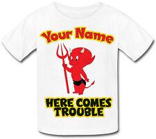 Voici venir le mal diable personnalisé enfant sublimation t-shirt * nommé cadeau *