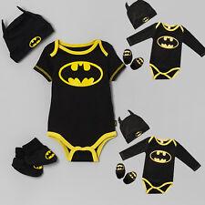 Baby Kids Boys 3pcs Batman Rompers+Hat+Shoes Bodysuit Playsuit Jumpsuit Outfits