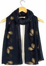de Mujer Clásico Dorado bordado Pluma Bufanda Maxi Tiras Grande Cálido & Suave