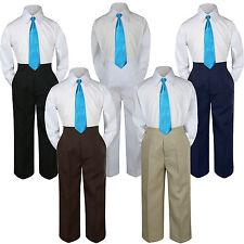 3pc Turquoise Spa Tie  Suit Shirt Pants Set Baby Boy Toddler Kid Uniform S-7