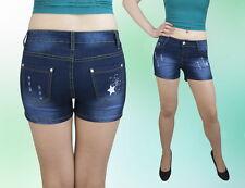 Damen Shorts Hose Jeans Hot Pants Kurz hüftig Blau 34 36 38 40 42