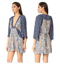 New Free People Women's V-neck Tululla Printed Boho Chic Mini Dress  XS S M L