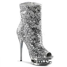 Silver Diamonds Platform Stripper Shoes Ankle Boots Pole Dancer Heels 8 9 10 11