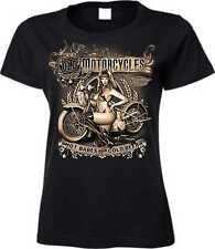 Donne T Shirt nero con un Biker - Chopper Modello Vecchio Motocicli